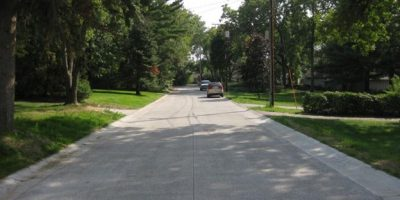 A pervious concrete road in Shoreview.